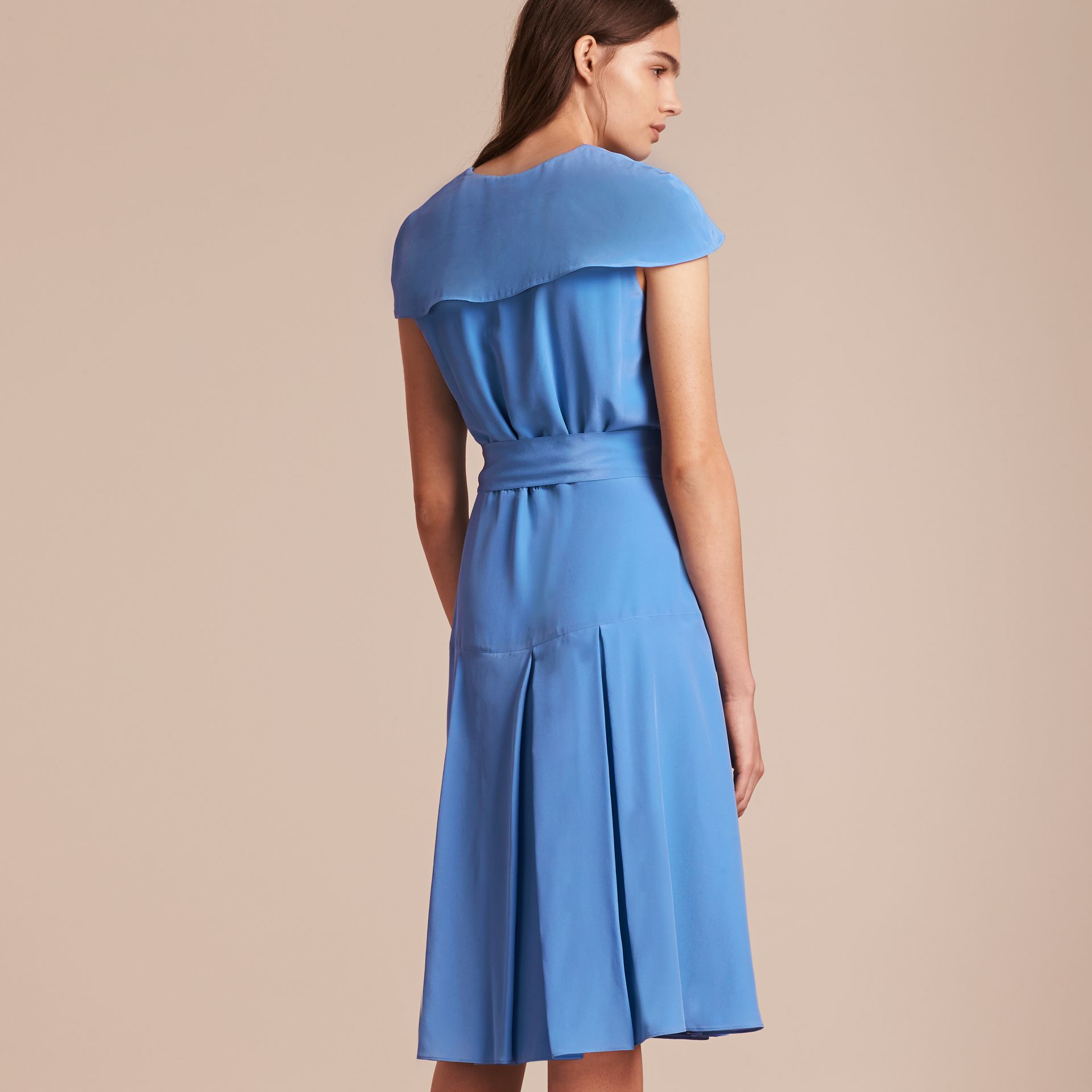 Cornflower Cape Detail Silk Wrap Dress Cornflower - gallery image 3
