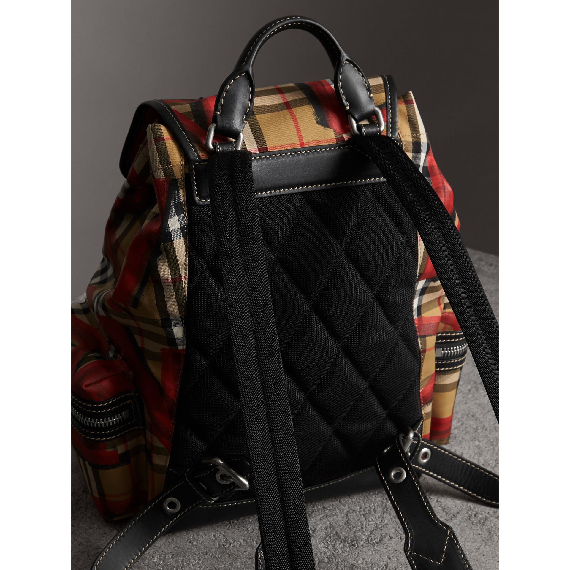The Medium Rucksack in Graffiti Print Vintage Check in Antique Yellow/red - Women | Burberry United Kingdom - gallery image 4