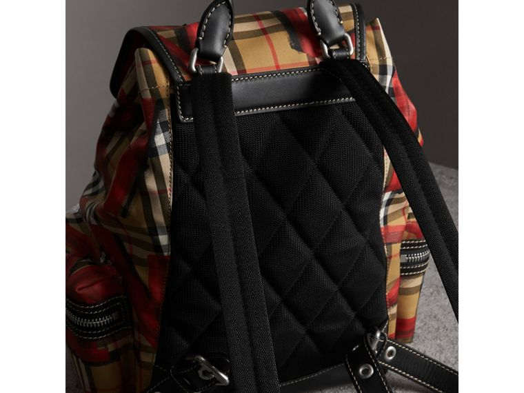 The Medium Rucksack in Graffiti Print Vintage Check in Antique Yellow/red - Women | Burberry United Kingdom - cell image 4