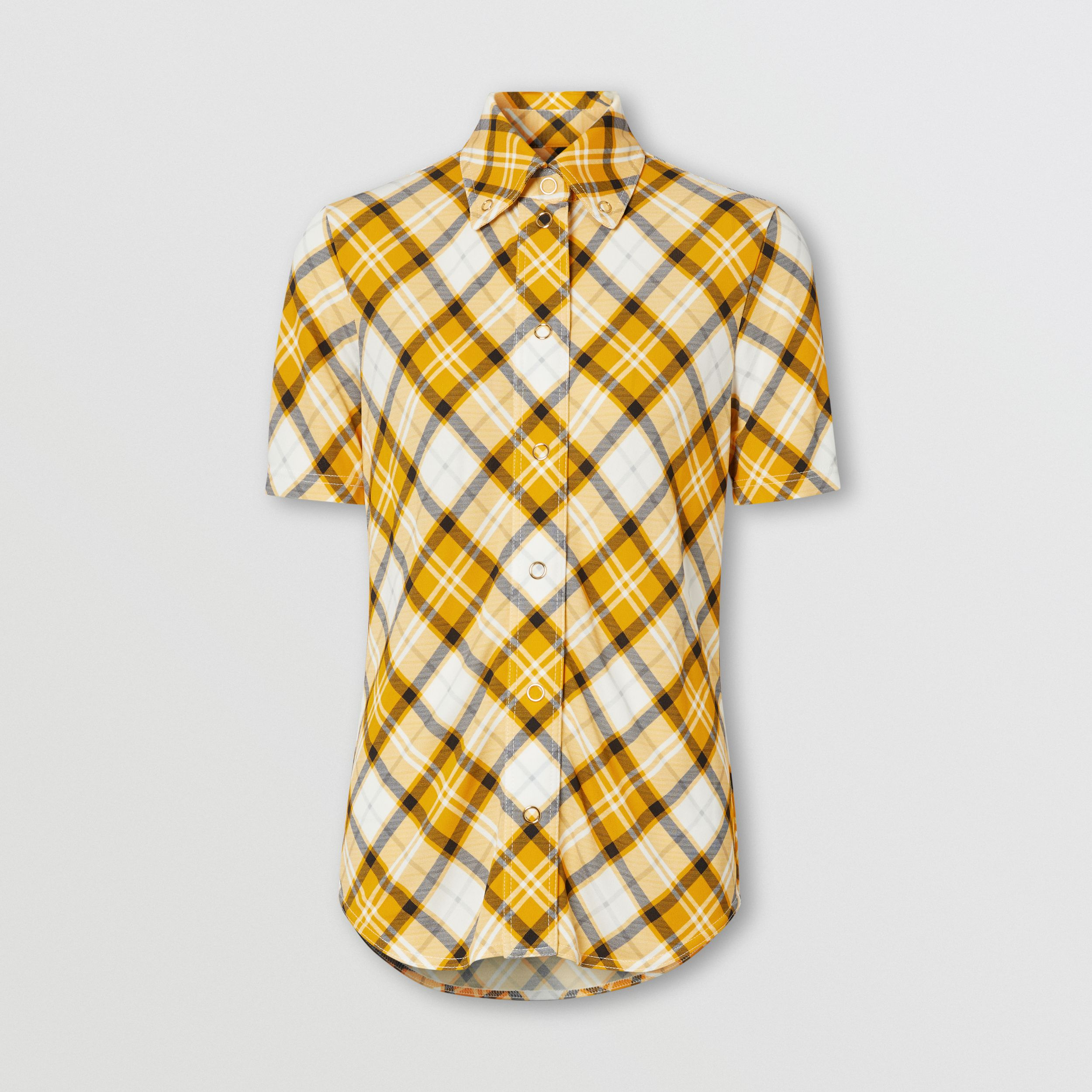 Short-sleeve Check Jersey Shirt in Citrus Orange - Women | Burberry - 3