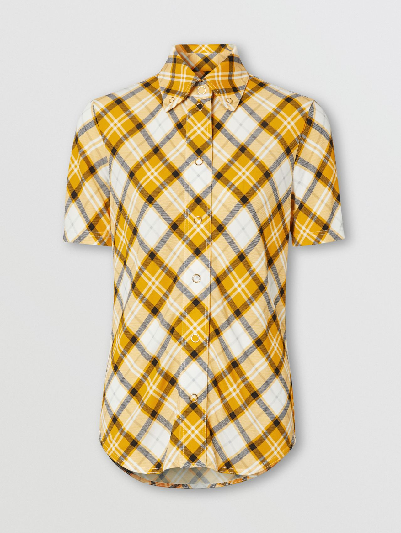 Short-sleeve Check Jersey Shirt in Citrus Orange