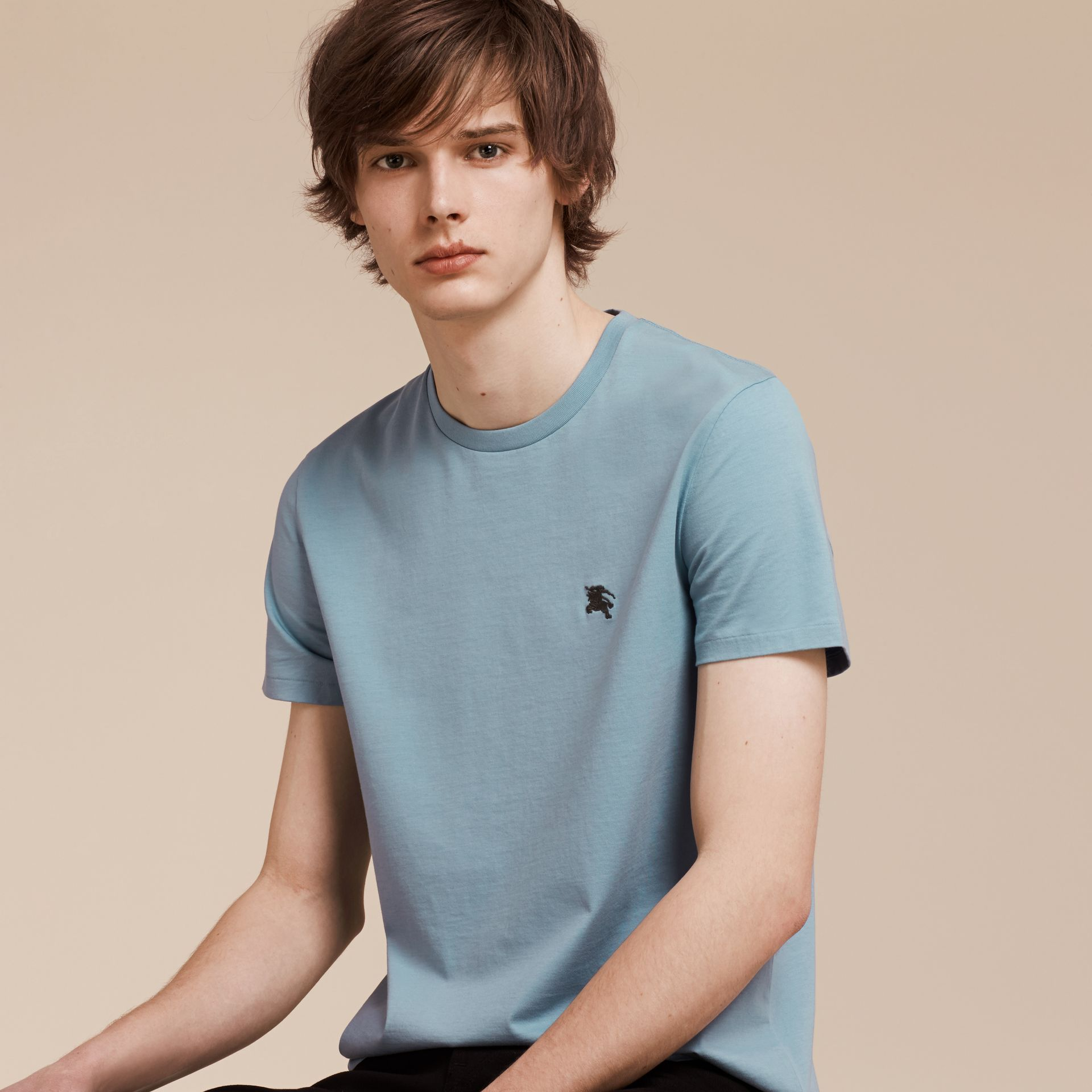 Pale blue Liquid-soft Cotton T-Shirt Pale Blue - gallery image 6
