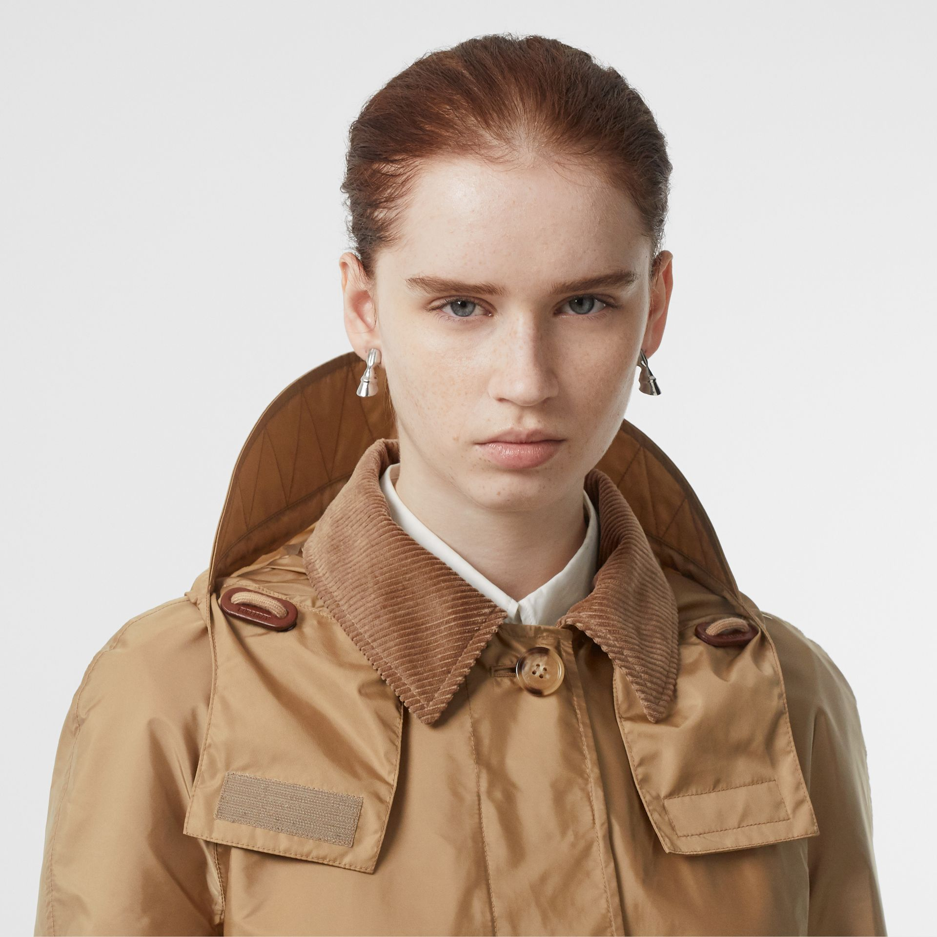 Detachable Hood Taffeta Parka in Honey - Women | Burberry - gallery image 4