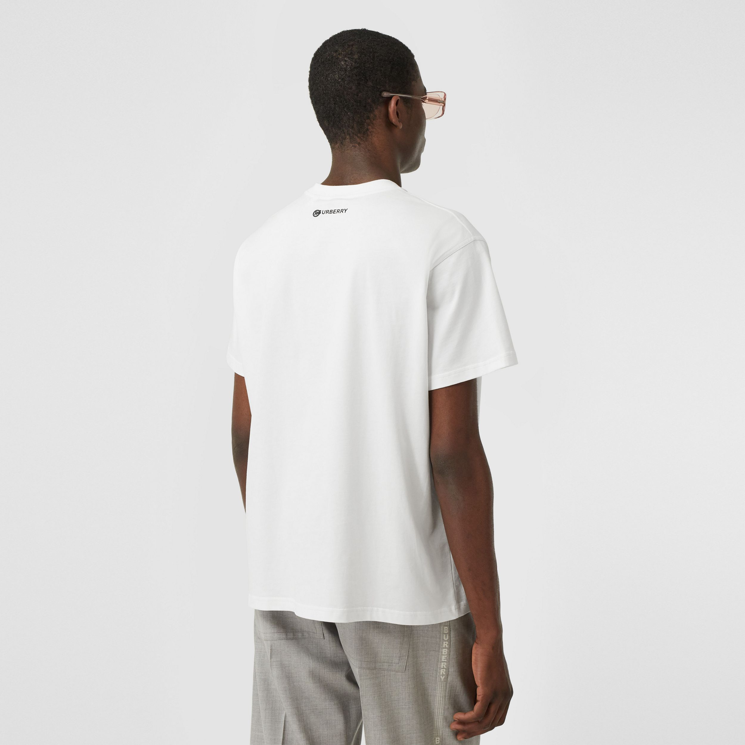 Globe Graphic Cotton Oversized T-shirt in White - Men | Burberry - 3