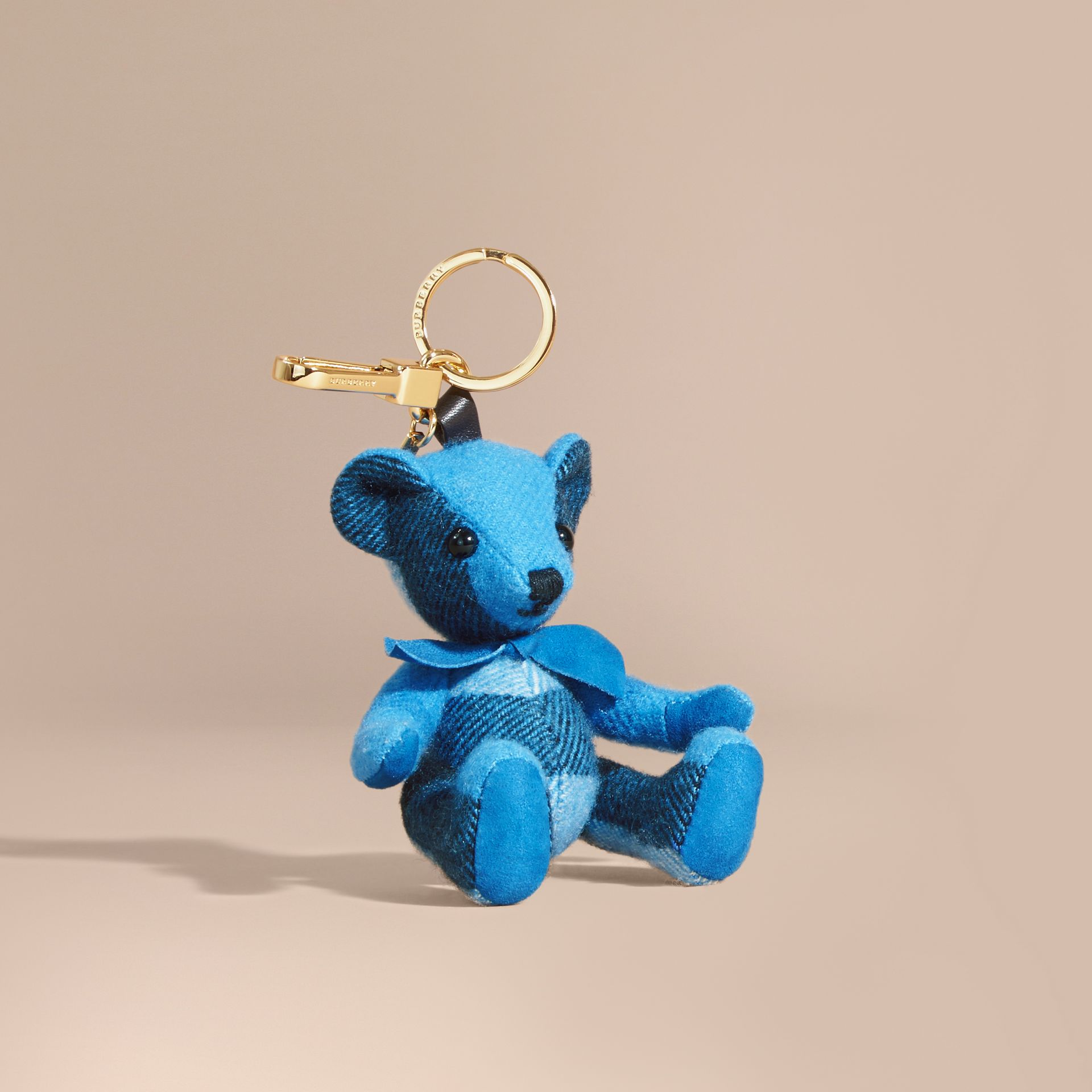 Thomas Bear Charm in Check Cashmere in Bright Cornflower Blue | Burberry - gallery image 1