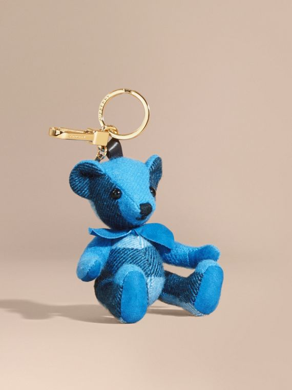 Thomas Bear Charm in Check Cashmere in Bright Cornflower Blue