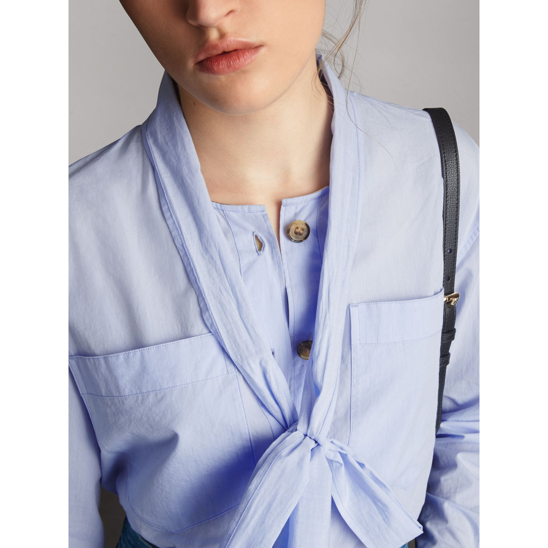 Cotton Tie Neck Shirt in Pale Blue - Women | Burberry - gallery image 2