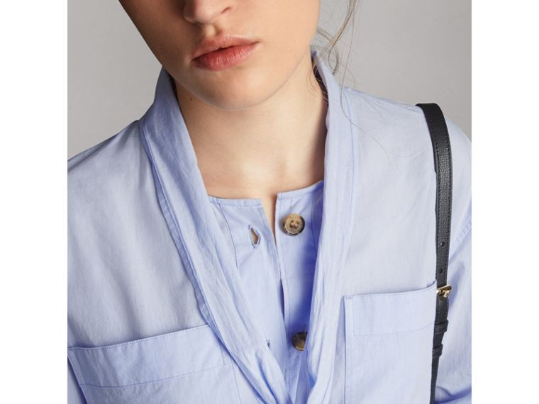 Cotton Tie Neck Shirt in Pale Blue - Women | Burberry - cell image 1