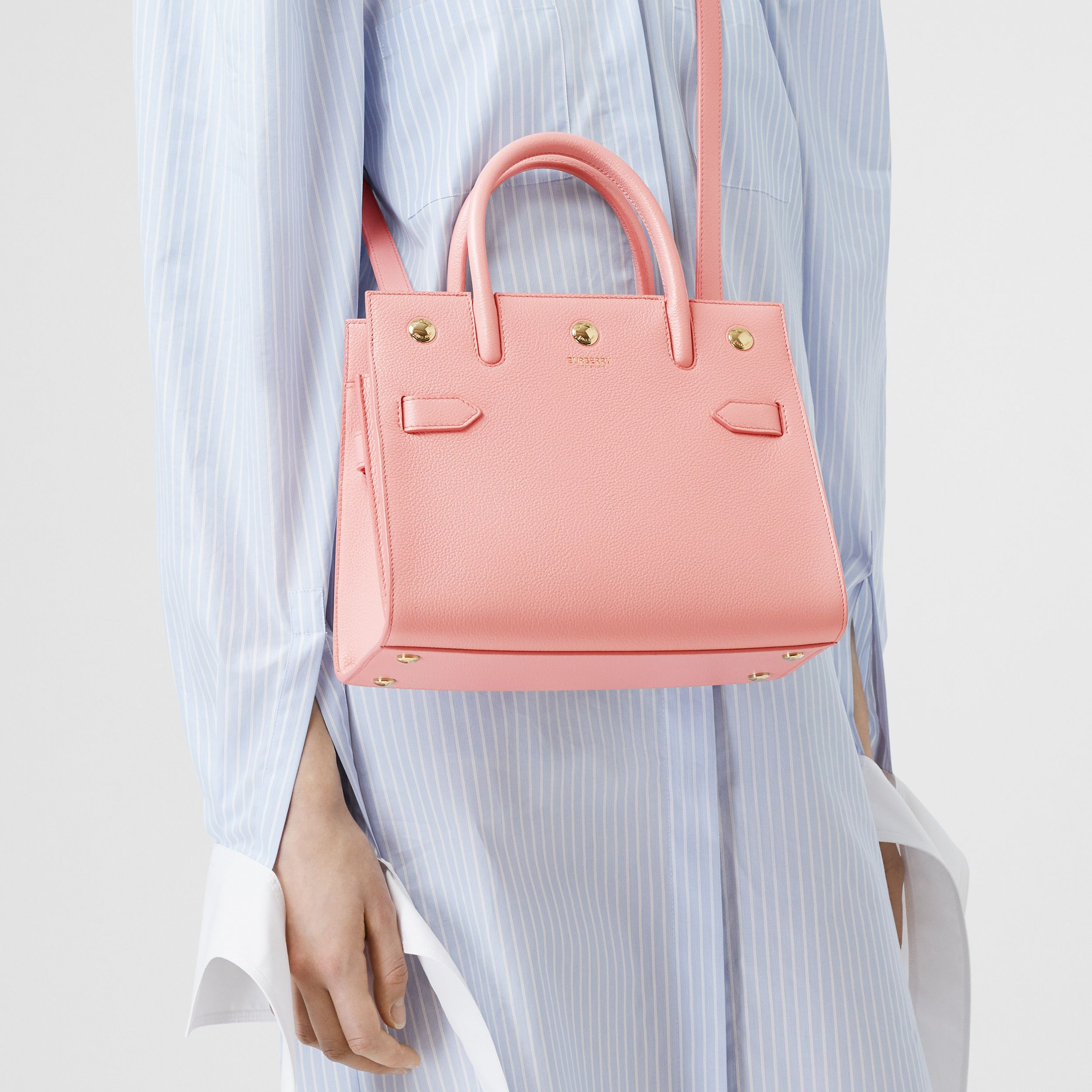 Mini Leather Two-handle Title Bag in Blush Pink - Women | Burberry - 3