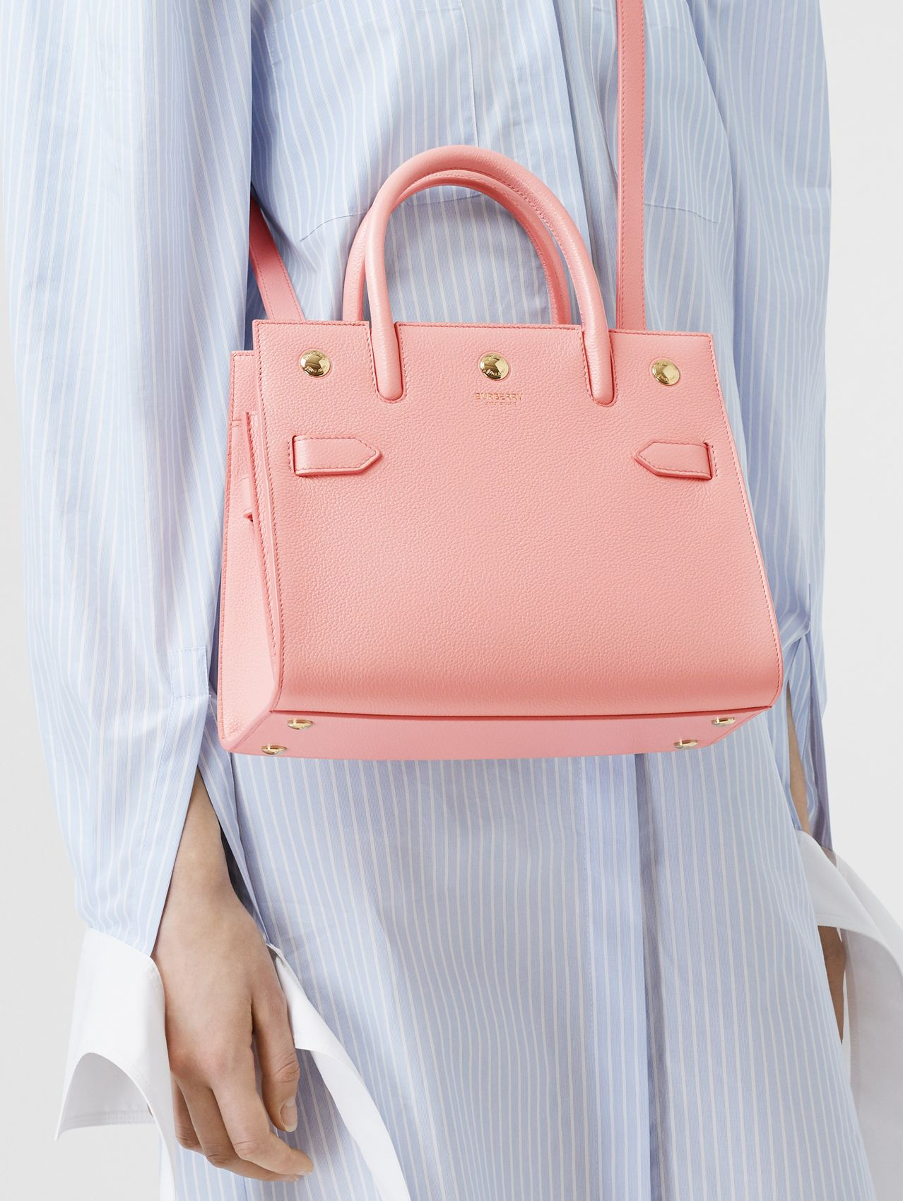 Mini Leather Two-handle Title Bag (Blush Pink)