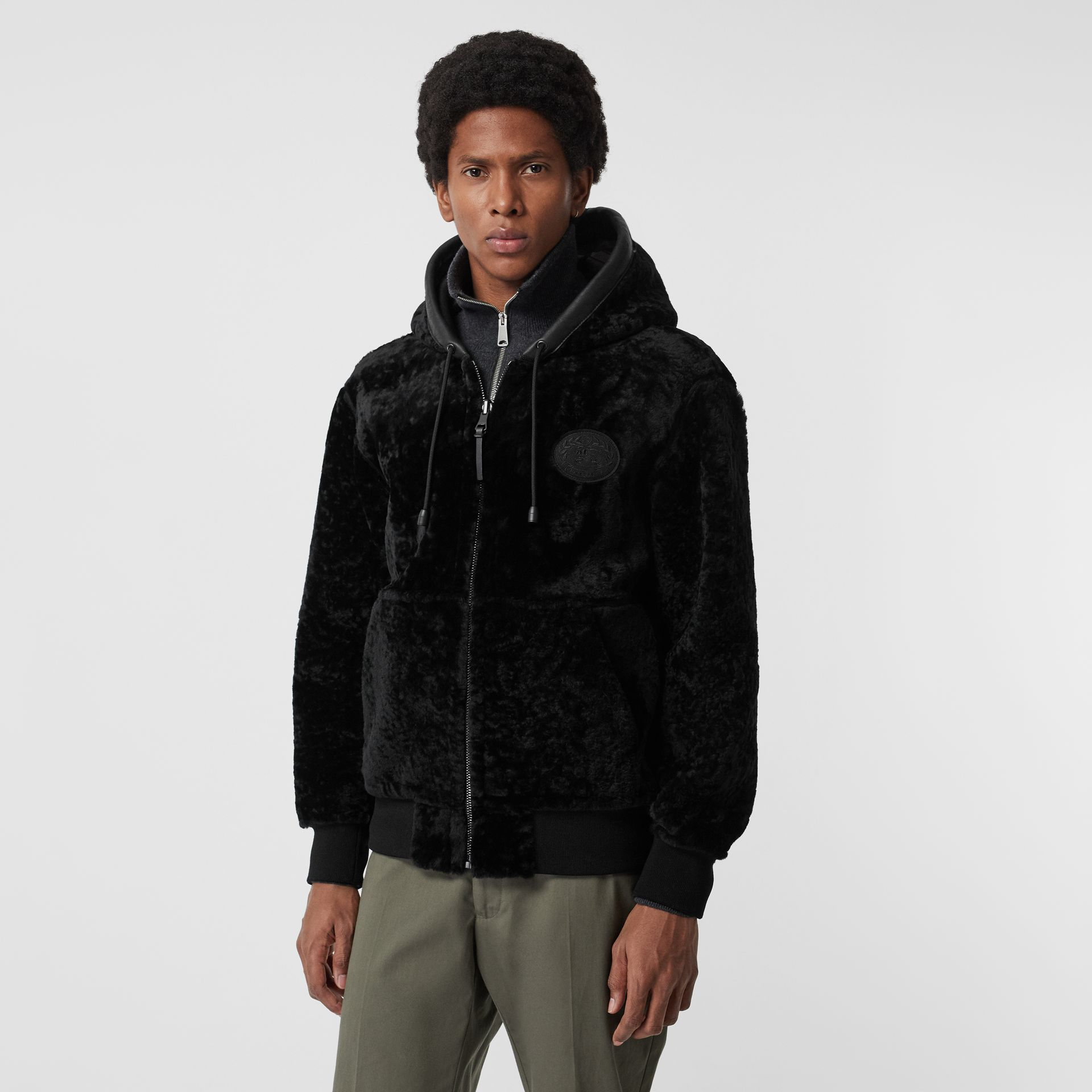 Reversible Shearling Hooded Bomber Jacket in Black - Men | Burberry - gallery image 5