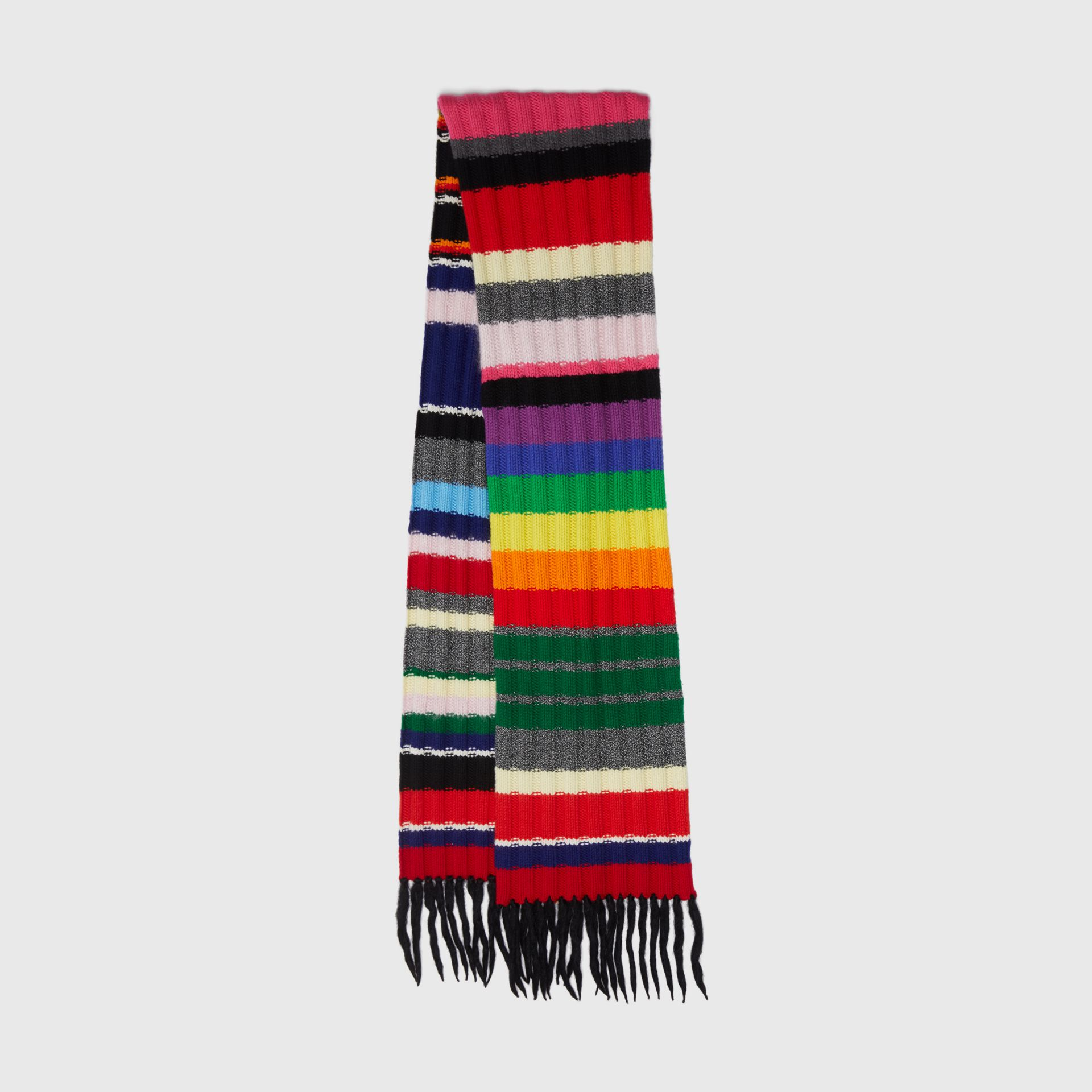Striped Chunky Knit Cashmere Wool Blend Scarf in Multicolour | Burberry - gallery image 0