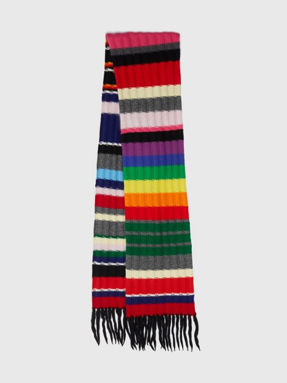 Striped Chunky Knit Cashmere Wool Blend Scarf in Multicolour