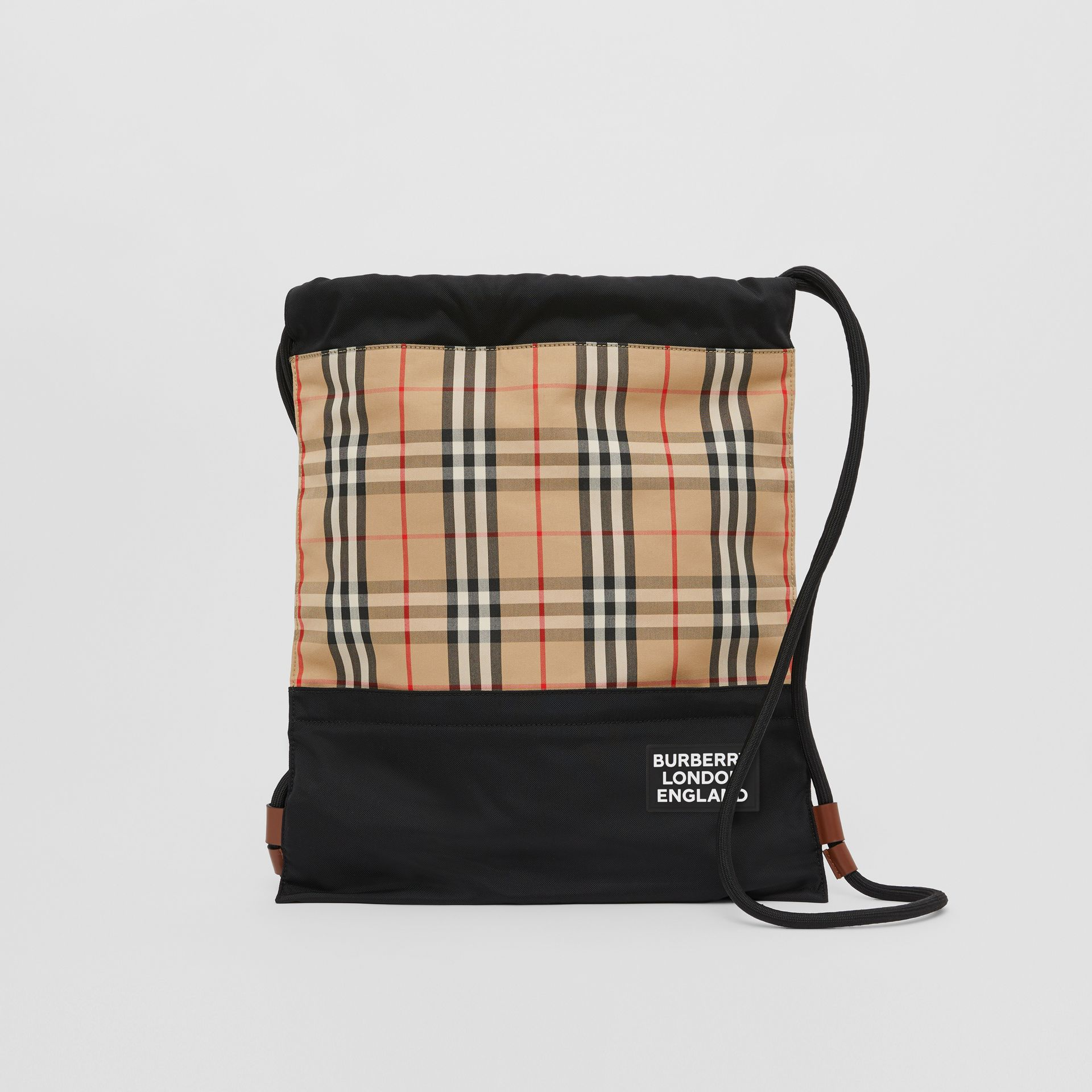 Vintage Check Panel Drawcord Backpack in Archive Beige | Burberry Canada - gallery image 0
