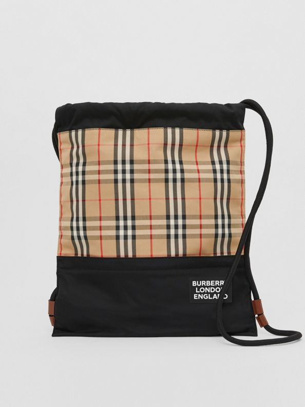 Vintage Check Panel Drawcord Backpack in Archive Beige