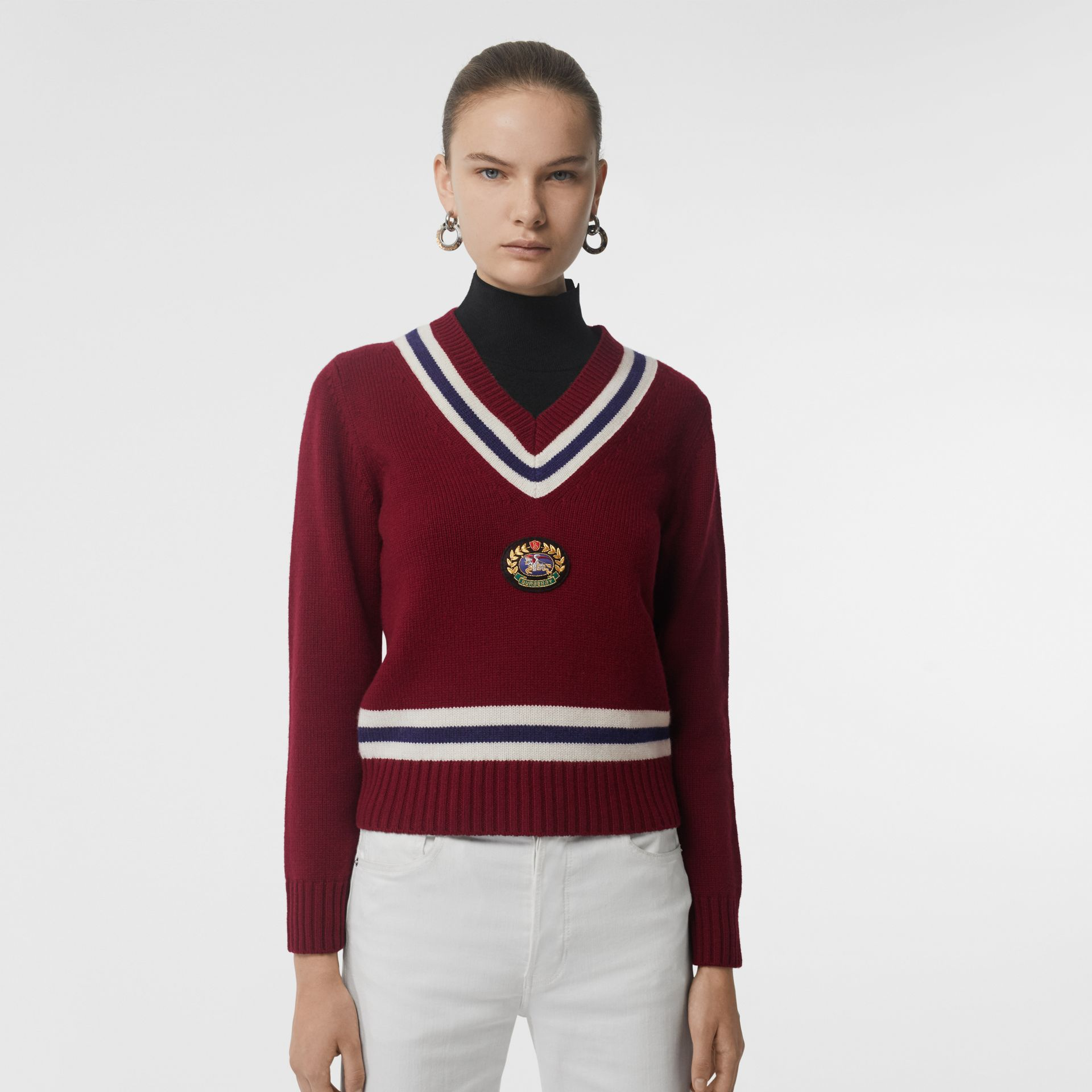 Embroidered Crest Wool Cashmere Sweater in Burgundy - Women | Burberry - gallery image 3