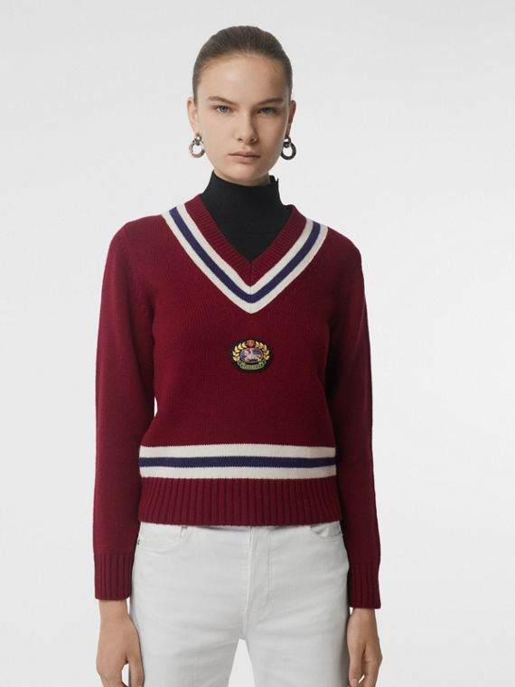 Embroidered Crest Wool Cashmere Sweater in Burgundy