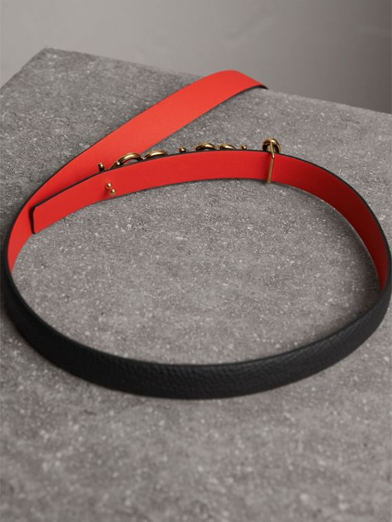 Doodle Detail Reversible Leather Belt in Black/red - Women | Burberry - cell image 3