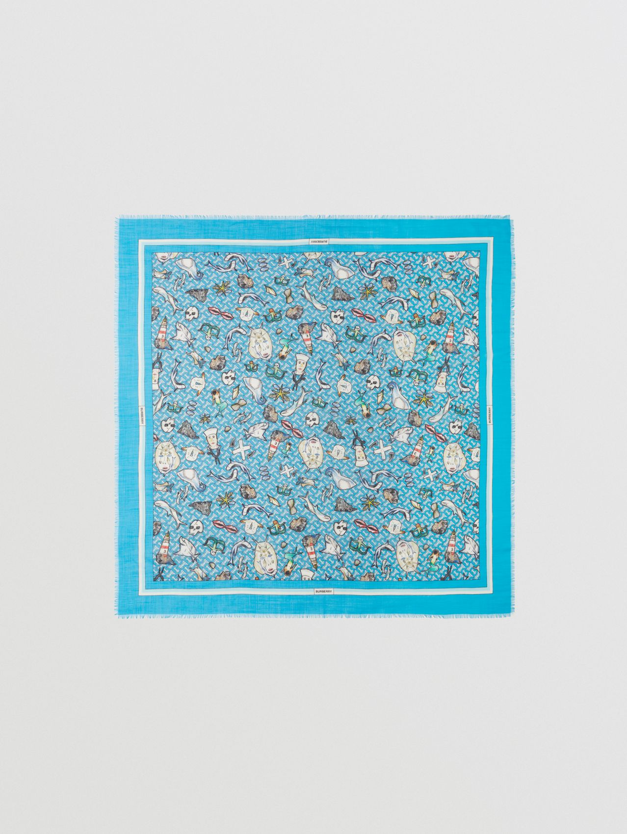 Montage Print Silk Wool Large Square Scarf in Bubblegum Blue