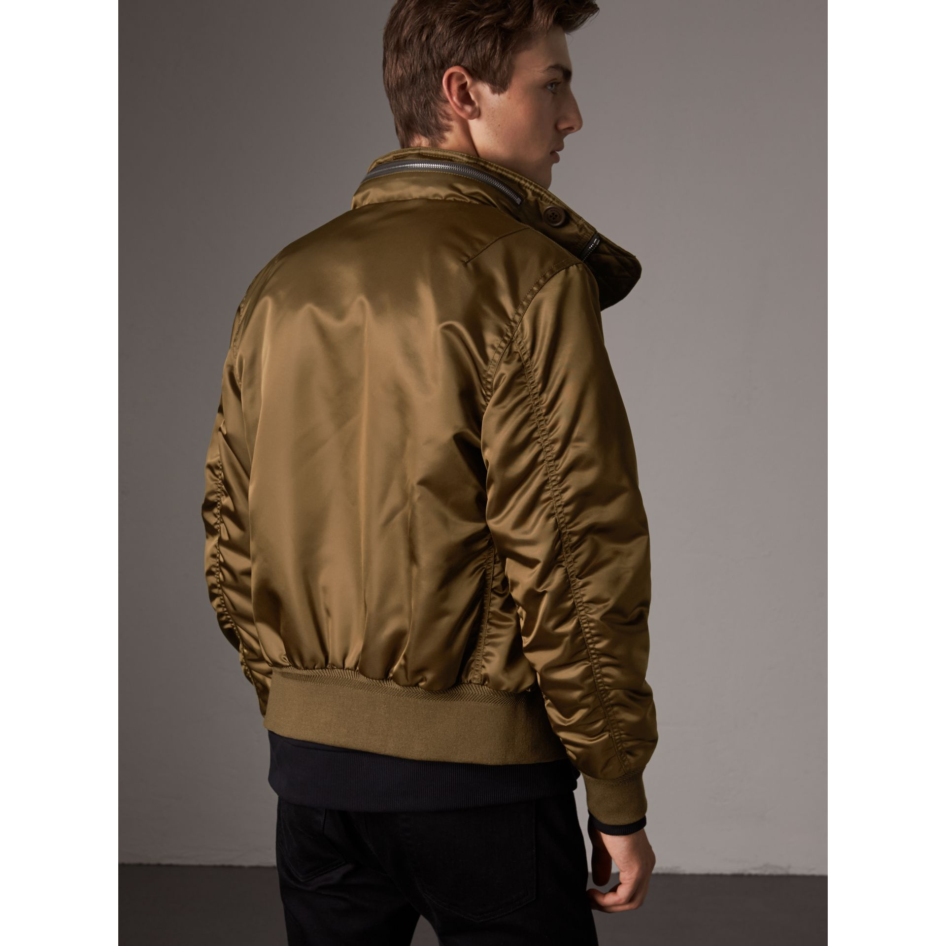 Nylon Bomber Jacket with Packaway Hood in Khaki Brown - Men | Burberry - gallery image 3