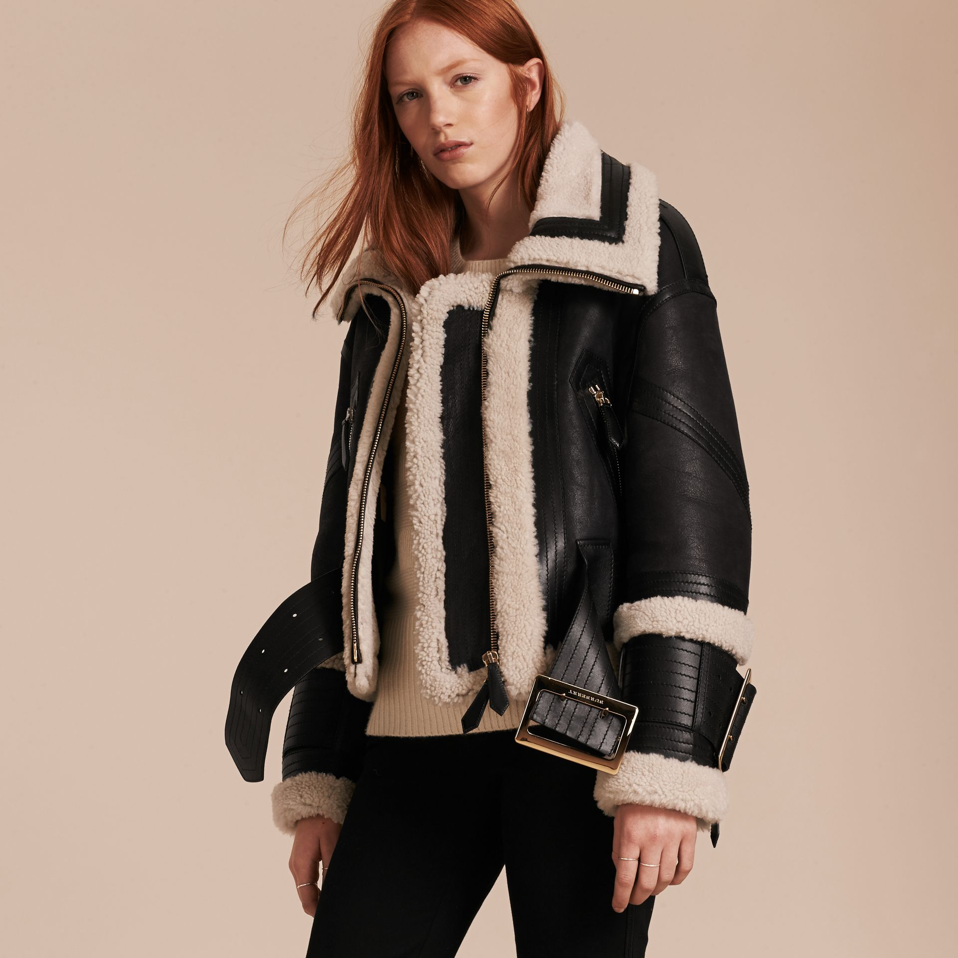 Black/ecru Shearling Aviator with Oversize Buckle Detail - gallery image 7