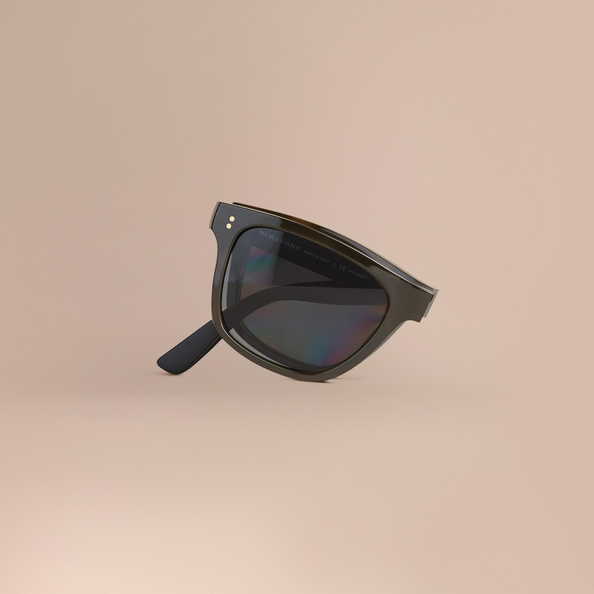 Grey Folding Rectangular Frame Polarised Sunglasses Grey - gallery image 2