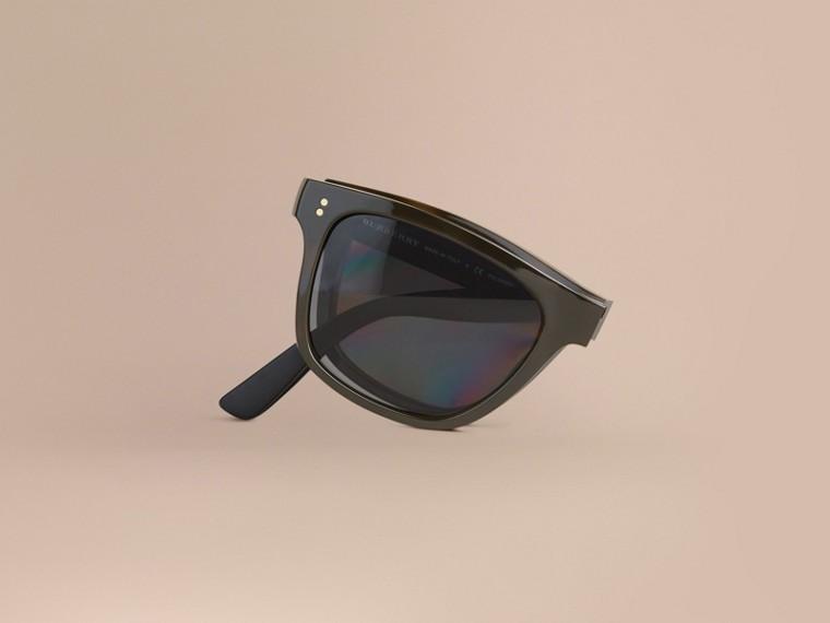 Grey Folding Rectangular Frame Polarised Sunglasses Grey - cell image 1
