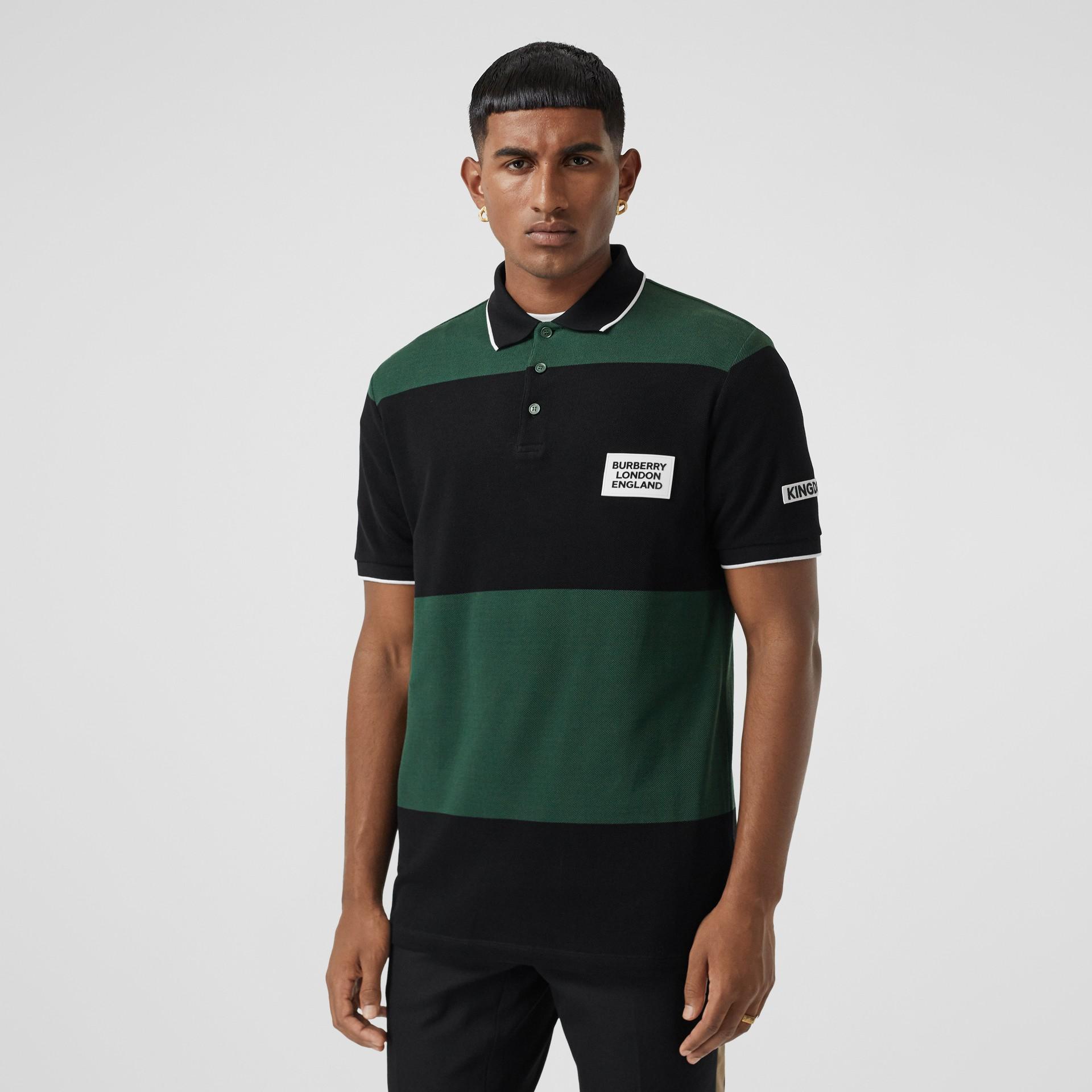Logo Appliqué Striped Cotton Polo Shirt in Dark Pine Green - Men | Burberry United Kingdom - gallery image 5