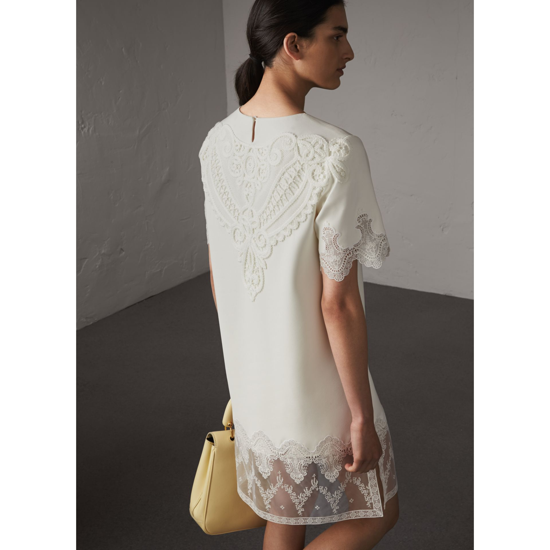 Lace and Silk Shift Dress in Natural White - Women | Burberry - gallery image 3
