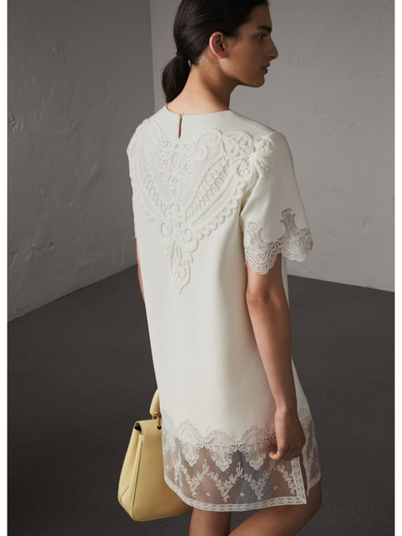 Lace and Silk Shift Dress in Natural White - Women | Burberry Australia - cell image 2