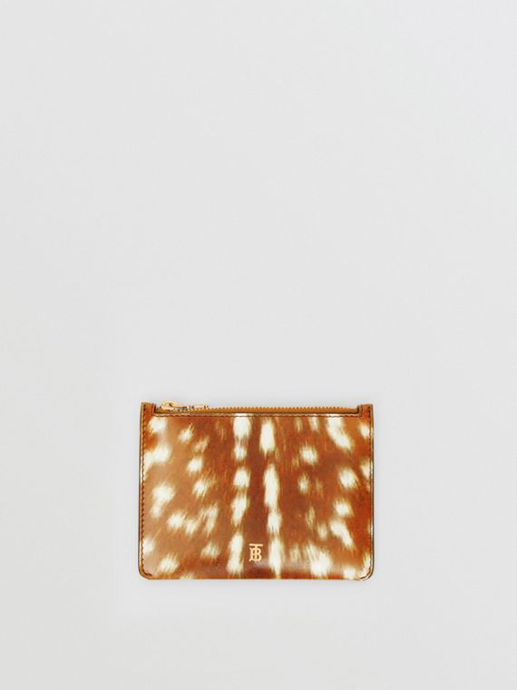 Deer Print Leather Coin Case in Malt Brown