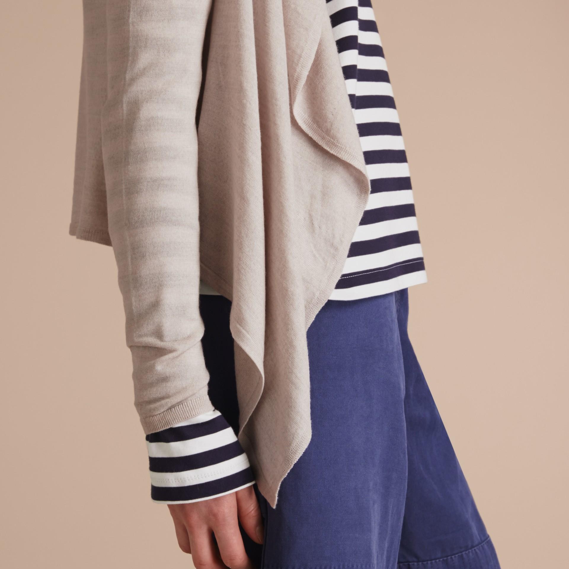Merino Wool Silk Open Cardigan Light Grey Melange - gallery image 5