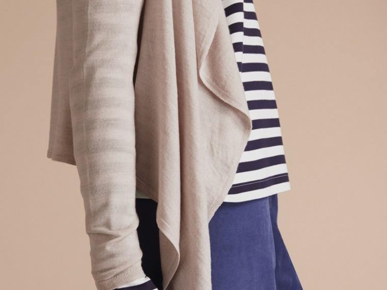 Merino Wool Silk Open Cardigan Light Grey Melange - cell image 4