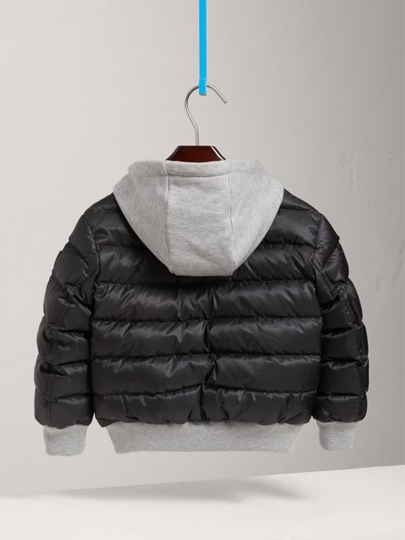 Reversible Down-filled Hooded Puffer Jacket in Black - Boy | Burberry - cell image 3
