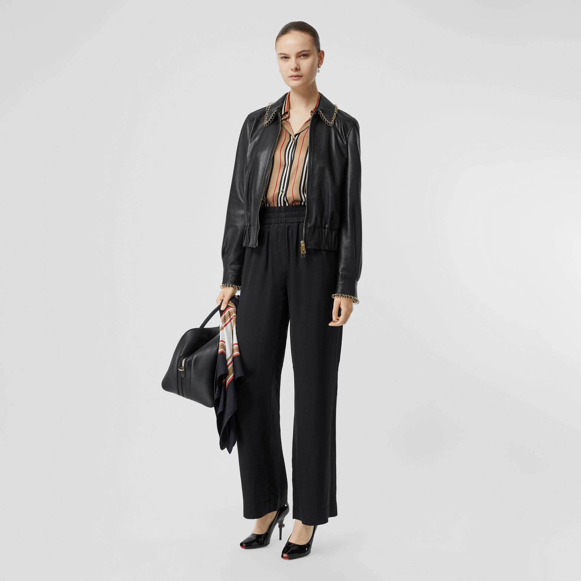 Silk Satin Trousers in Black - Women | Burberry United States - gallery image 0