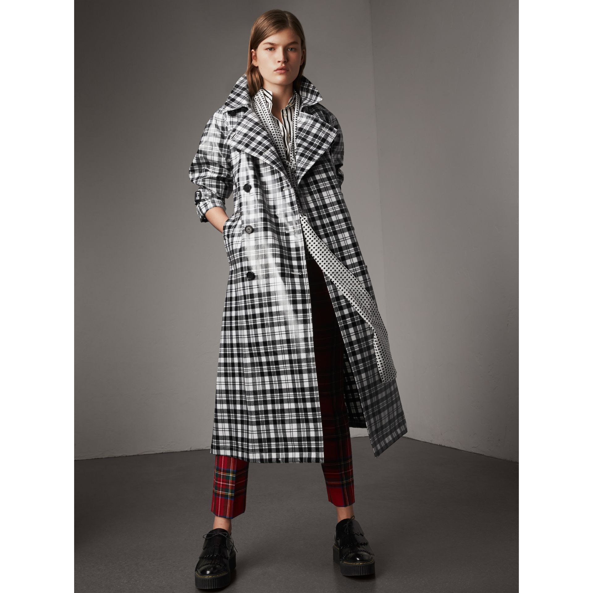Laminated Tartan Wool Trench Coat in Black/white - Women | Burberry - gallery image 6