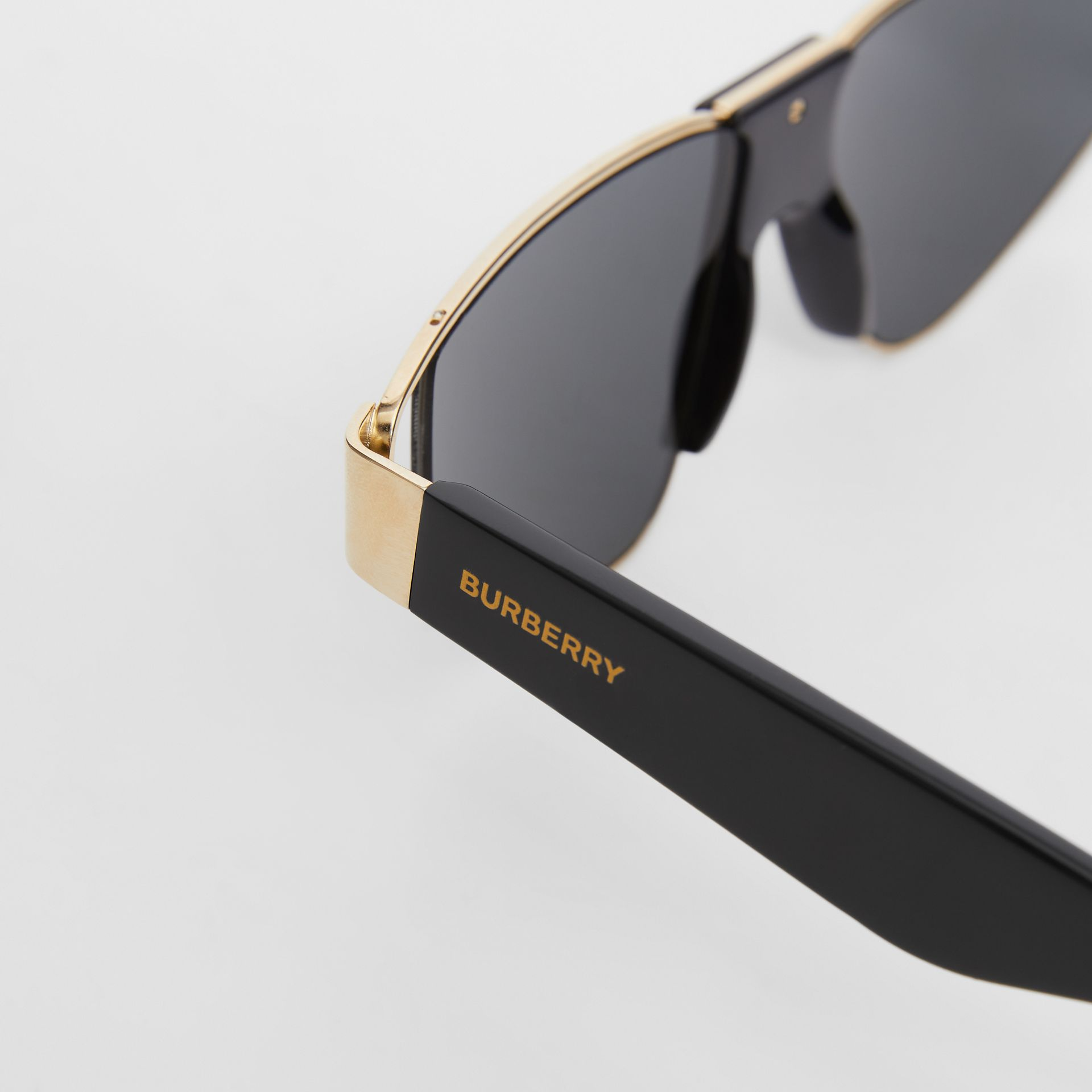 Gold-plated Triangular Frame Sunglasses in Black | Burberry Australia - gallery image 1