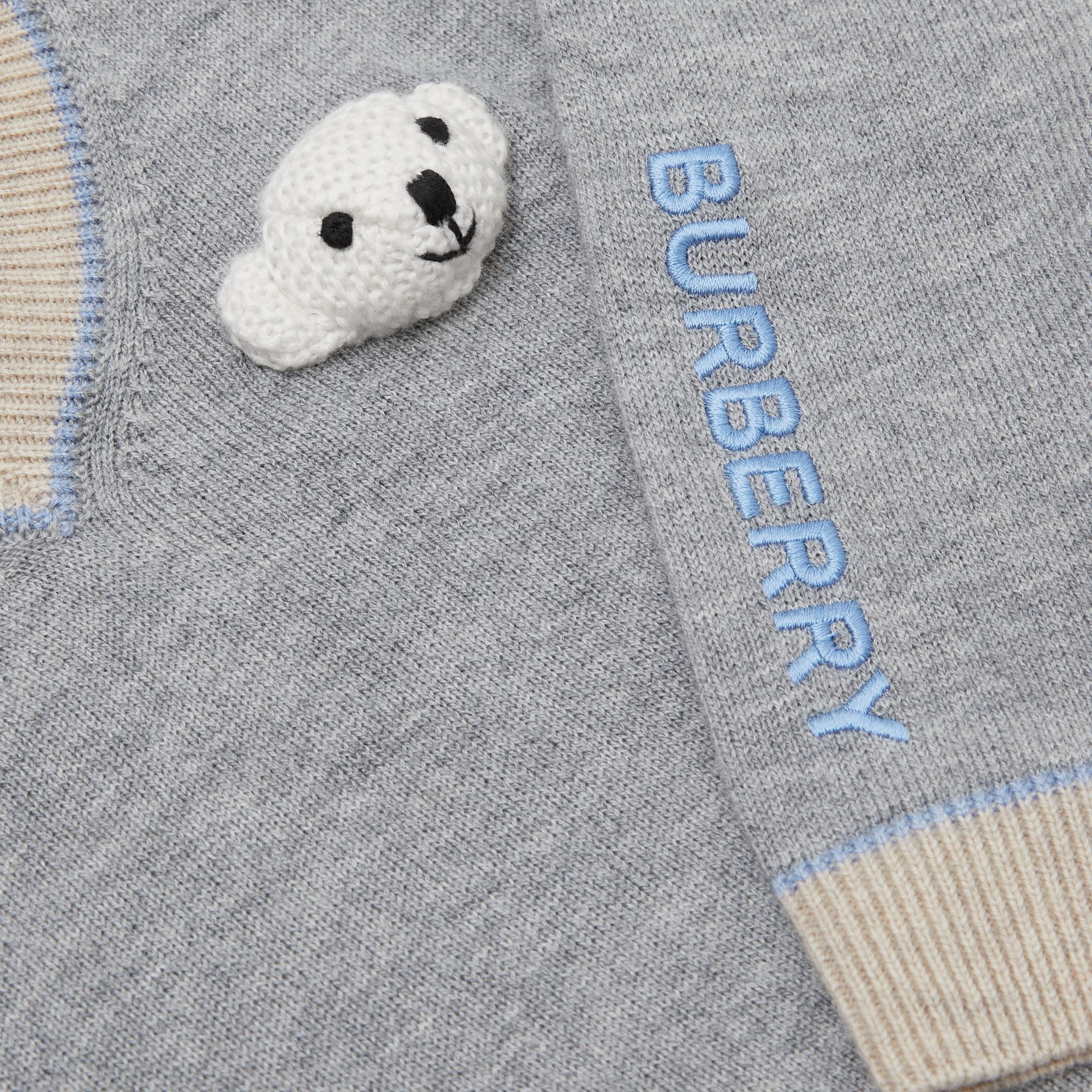 Thomas Bear Detail Wool Cashmere Sweater in Grey Melange - Children | Burberry - gallery image 1