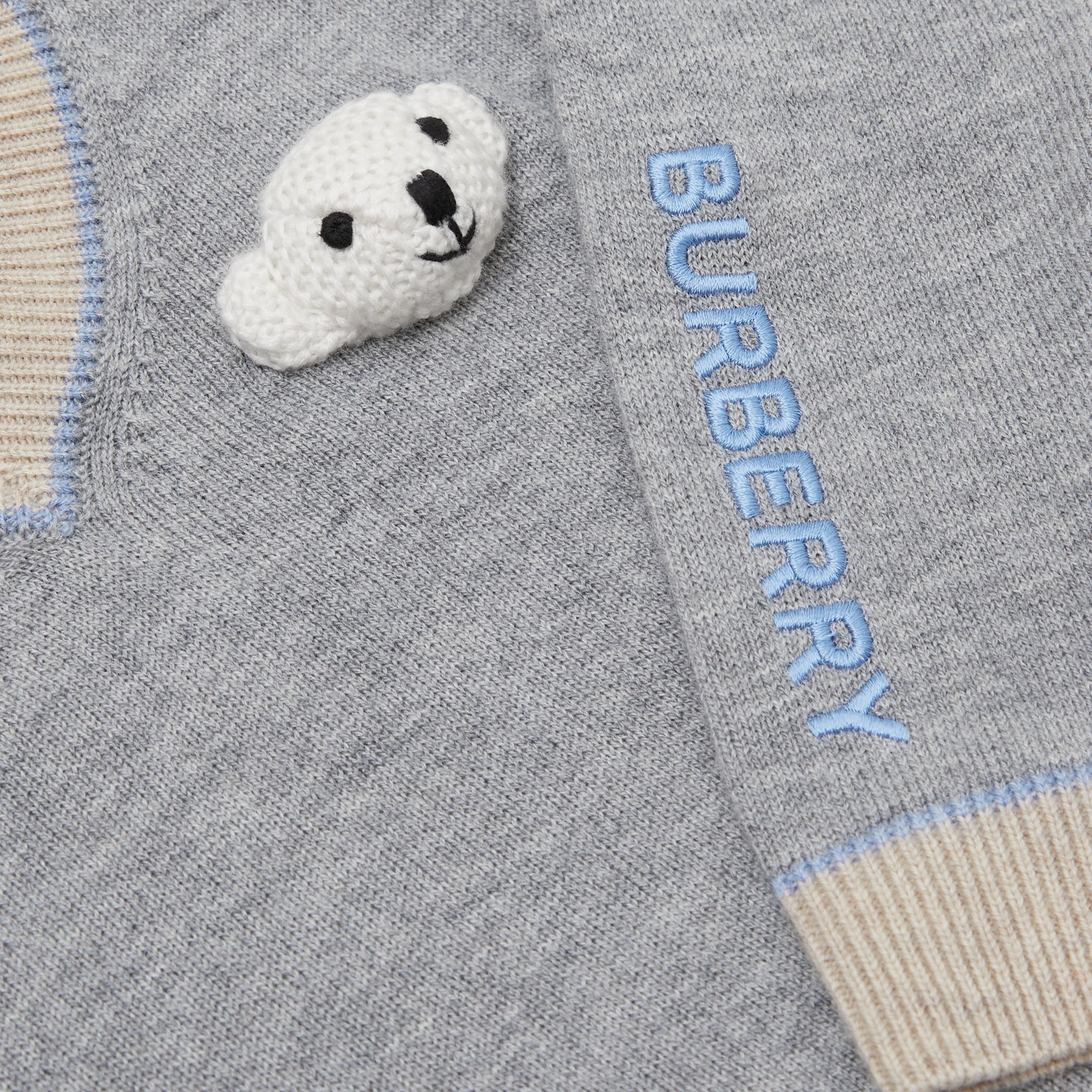 Thomas Bear Detail Wool Cashmere Sweater in Grey Melange - Children | Burberry - 2