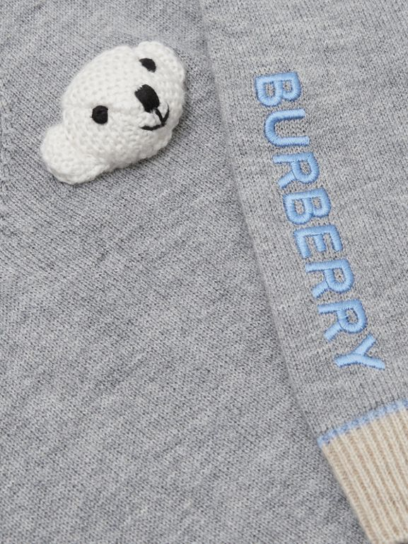 Thomas Bear Detail Wool Cashmere Sweater in Grey Melange - Children | Burberry - cell image 1