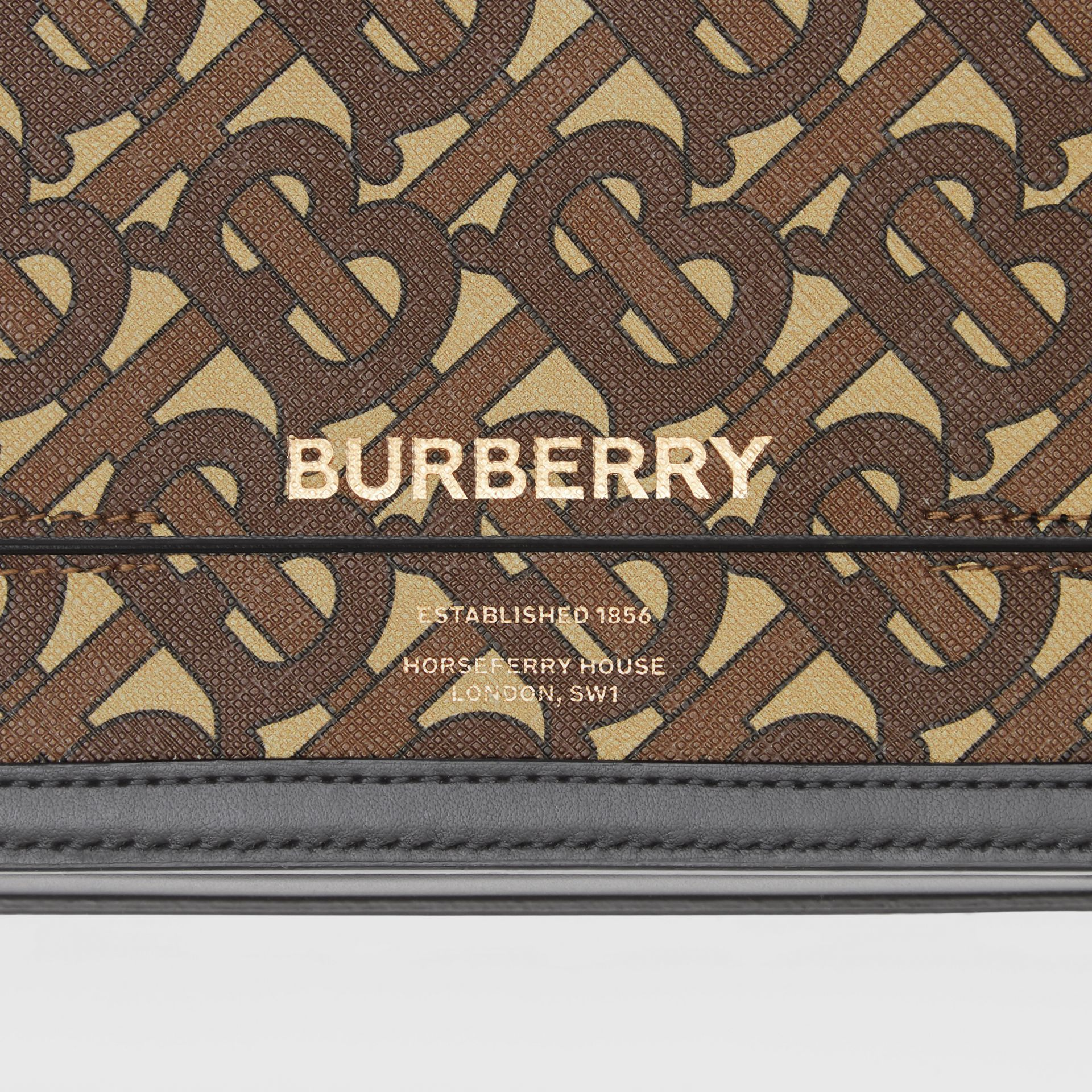 Small Monogram Print E-canvas Grace Bag in Bridle Brown - Women | Burberry - gallery image 1