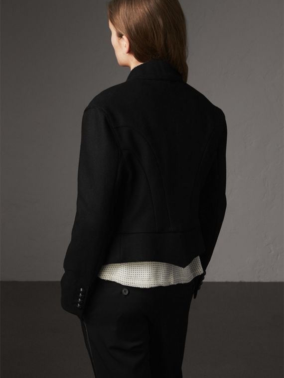 Wool Blend Military Jacket in Black - Women | Burberry United States - cell image 2