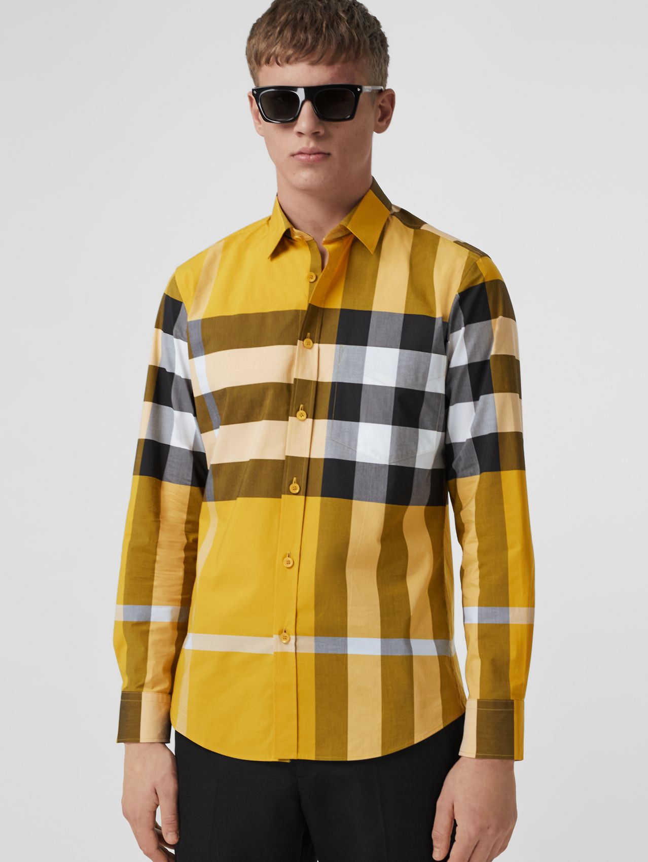 Check Stretch Cotton Poplin Shirt in Vivid Ochre