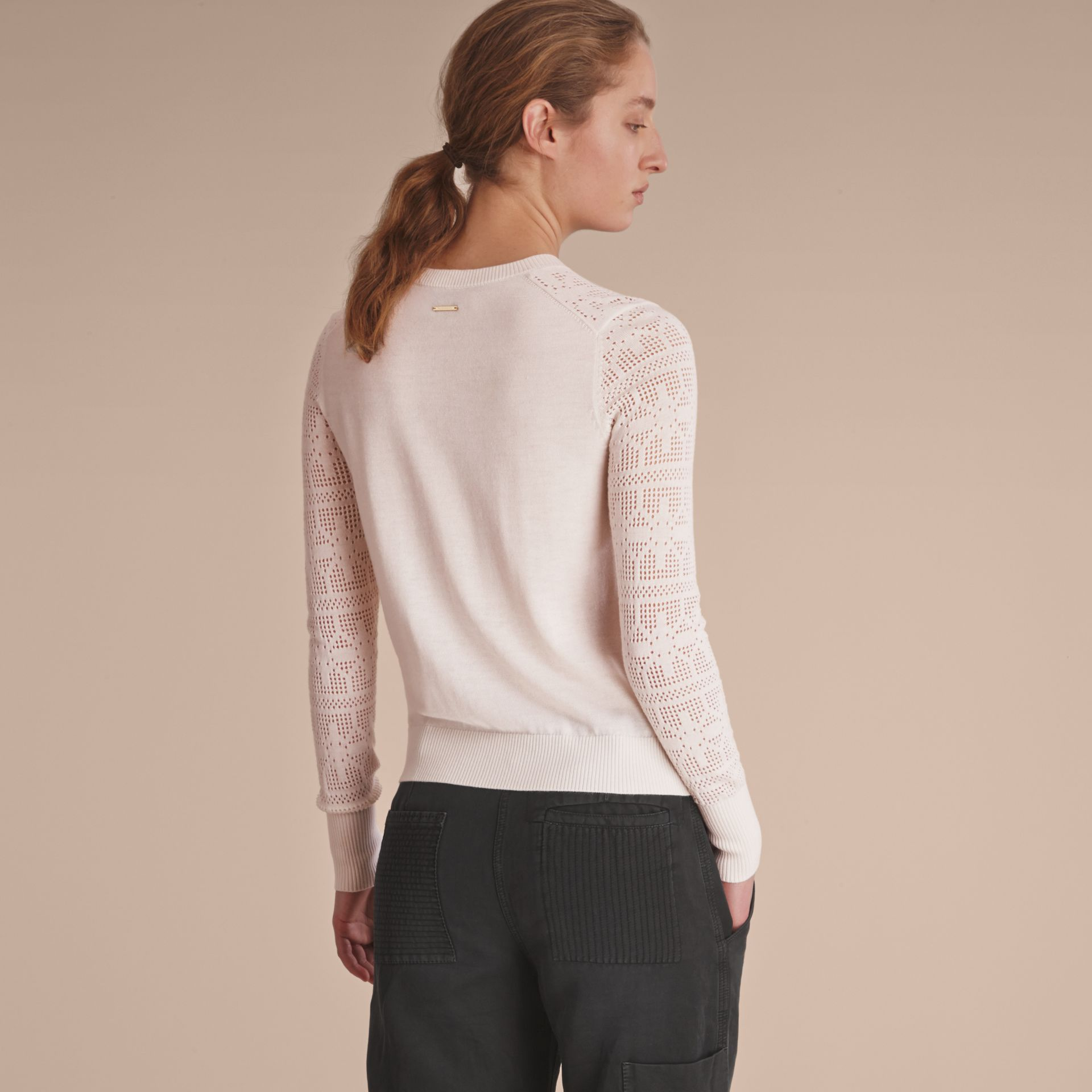 Lace Trim Knitted Wool and Cashmere Cardigan - gallery image 3