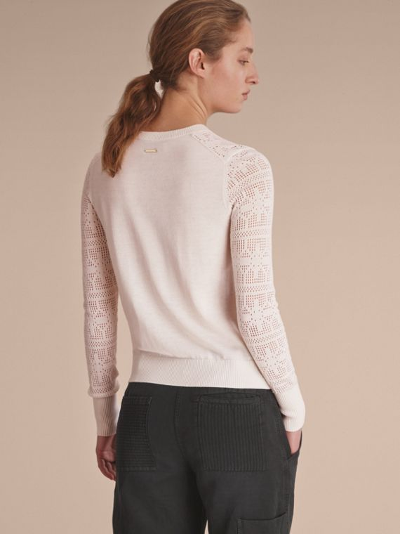 Lace Trim Knitted Wool and Cashmere Cardigan - cell image 2