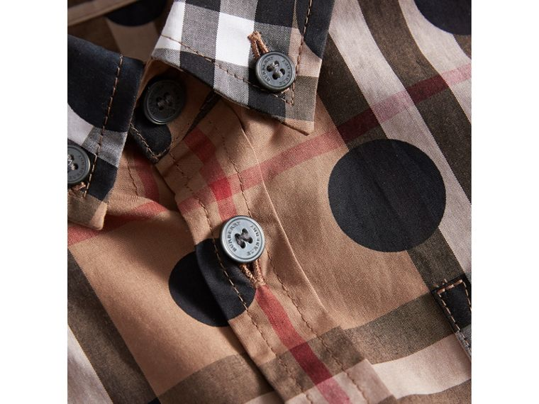 Polka-dot Check Cotton Shirt in Navy - Boy | Burberry United Kingdom - cell image 1