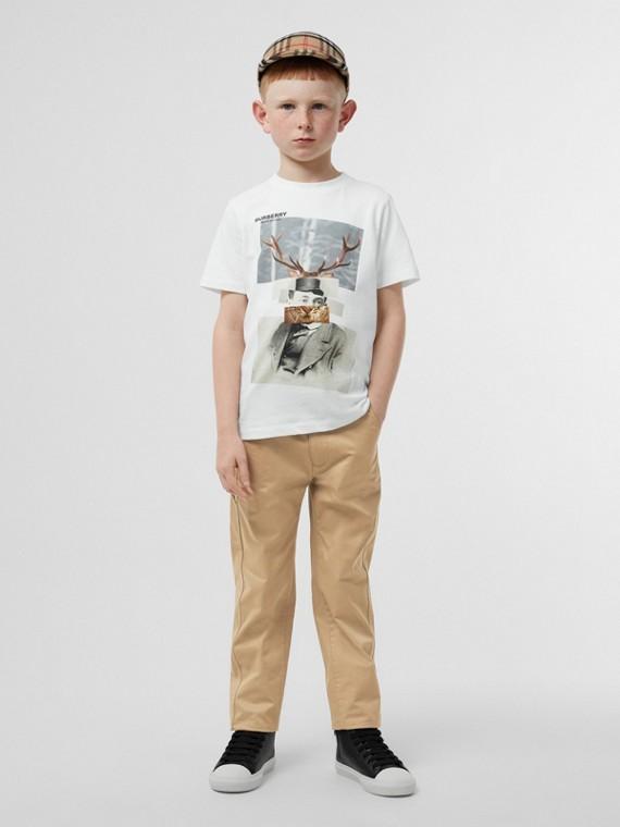 T-shirt en coton à imprimé collage (Blanc)