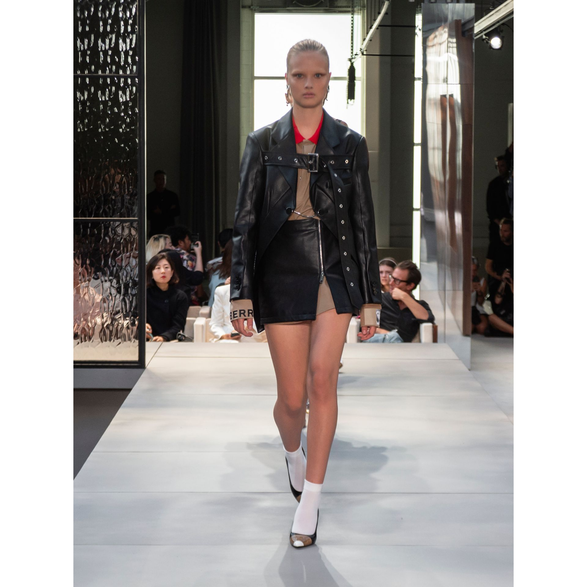 Zip-front Leather Mini Skirt in Black - Women | Burberry - gallery image 5