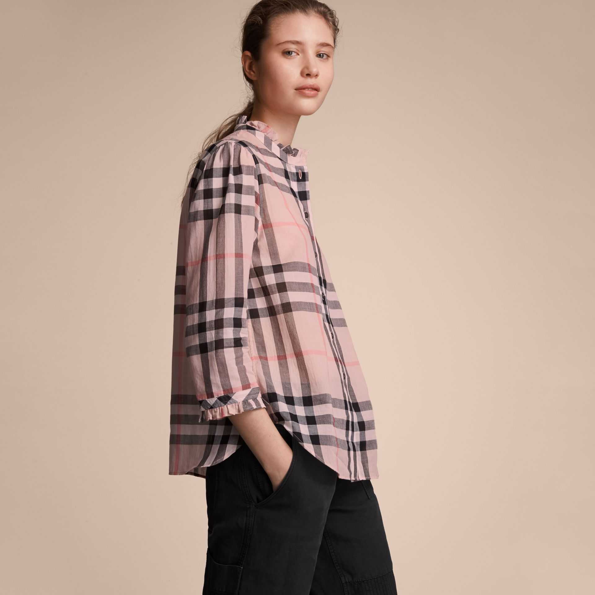 Ruffle Detail Check Cotton Shirt in Vintage Pink - Women | Burberry - gallery image 6