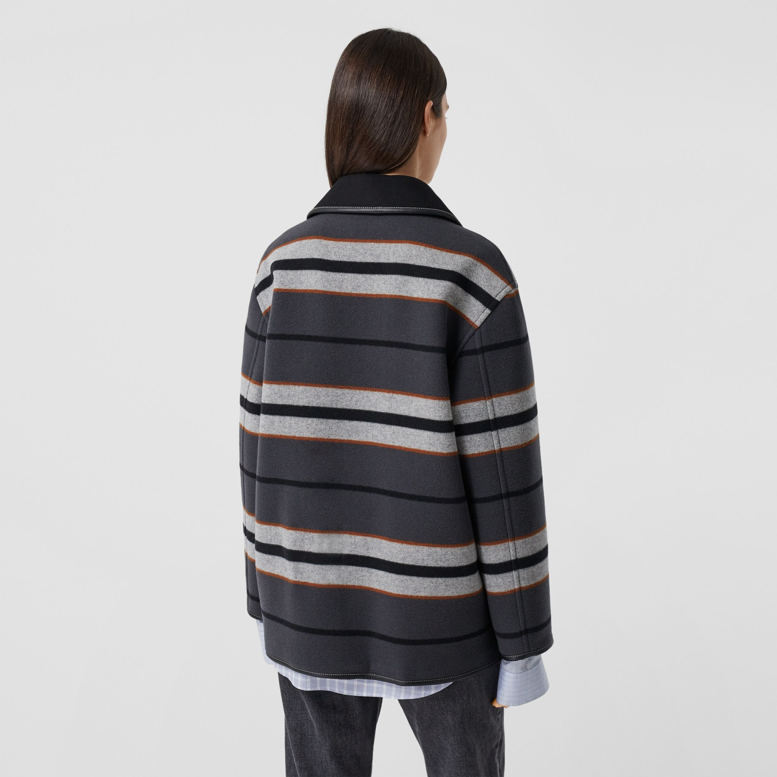 Lambskin Trim Stripe Intarsia Wool Barn Jacket in Mid Grey - Women | Burberry Hong Kong S.A.R. - 3